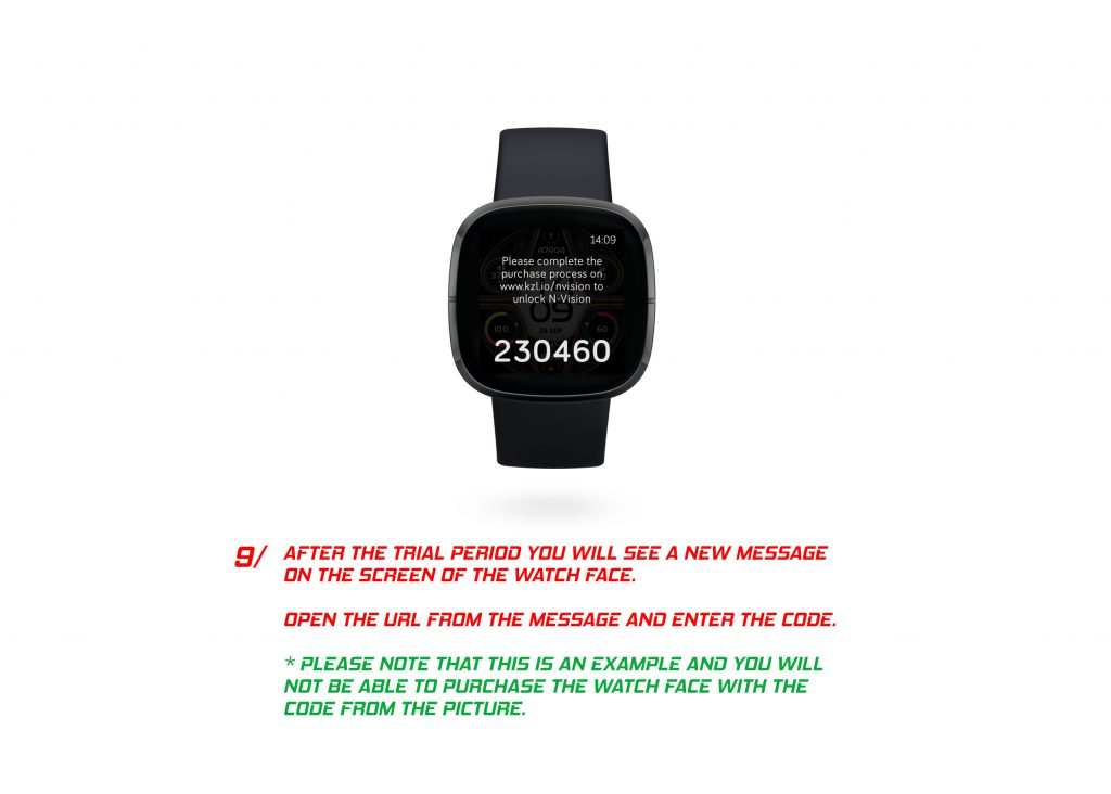 9. After The Trial Period You Will See A New Message On The Screen Of The Watch Face. Open The Url From The Message And Enter The Code. * Please Note That This Is An Example And You Will Not Be Able To Purchase The Watch Face With The Code From The Picture.