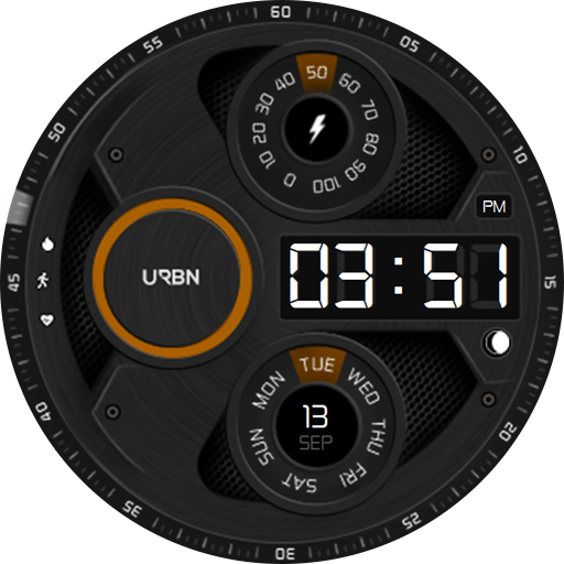 Modern galaxy watch face - orange