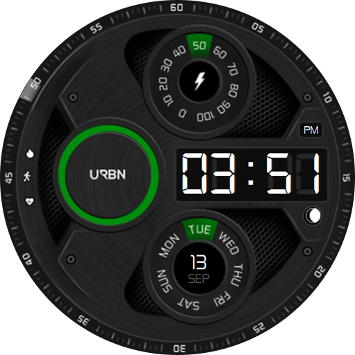 Modern galaxy watch face - green