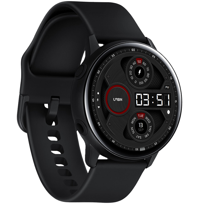Gravity Samsung galaxy watch face - dark and red